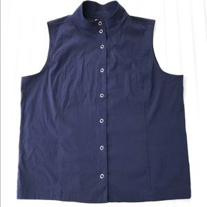 Chico's Addition's Vest Navy Blue Snap Front XL